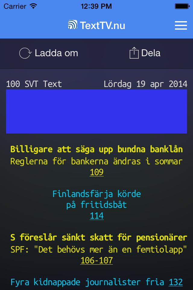 Skärmdump som visar TextTV.nu och sidan 100