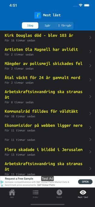 Skärmdump som visar en sida med en lista på de mest lästa sidorna i Text TV-appen