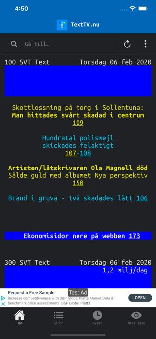 Skärmdump som visar startskärmen för Text TV-appen